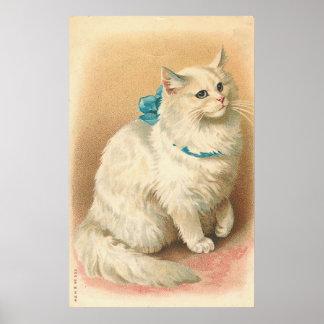 Vintage White Cat Poster
