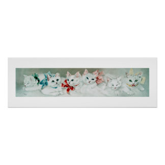 Vintage White Cats with Ribbons by Janus Poster
