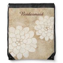 Vintage White Dahlia Floral Wedding Drawstring Backpack