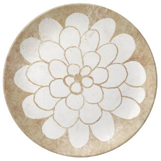 Vintage White Dahlia Floral Wedding Porcelain Plates
