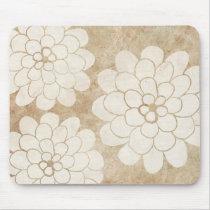 Vintage White Dahlia Floral Wedding Mouse Pad