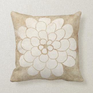 Vintage White Dahlia Floral Wedding Throw Pillow
