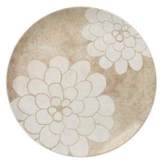 Vintage White Dahlia Floral Wedding Plates