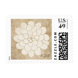 Vintage White Dahlia Floral Wedding Postage Stamps