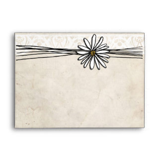 Vintage White Daisy Envelope