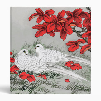 Vintage White Doves and Red Leaves on Gray / Grey Binder