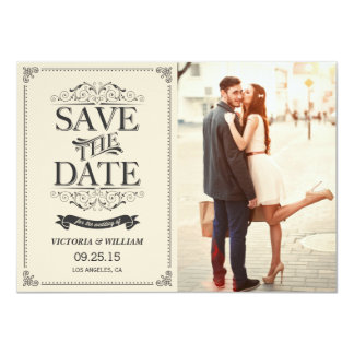 Vintage White Elegant Save the Date Announcement