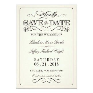 Vintage White Elegant Save the Date 4.5x6.25 Paper Invitation Card