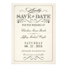 Vintage White Elegant Save the Date Invites