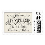 Vintage White Elegant Typography Wedding Postage