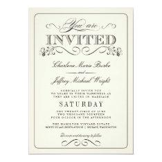 "Vintage White Elegant Wedding Invitations 5"" X 7"" Invitation Card at Zazzle"