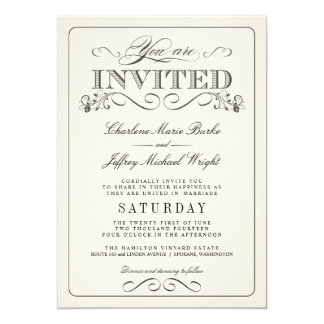 Vintage White Elegant Wedding Invitations