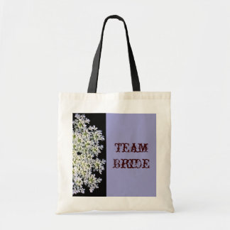 vintage white floral purple wedding canvas bag