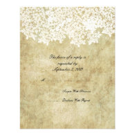 Vintage White Floral Wedding RSVP Personalized Invite
