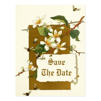 Vintage white flowers wedding Save the Date Postcard