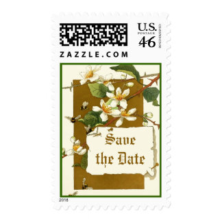 Vintage white flowers wedding Save the Date stamp