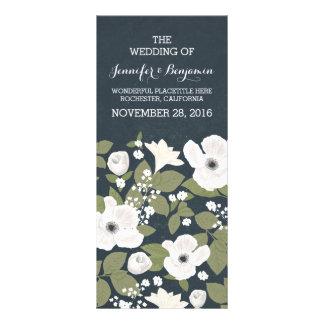 Vintage white flowers wreath wedding programs full color rack card