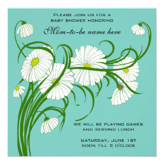 Vintage White Gerber Daisy Flowers Boy Baby Shower Personalized Announcements