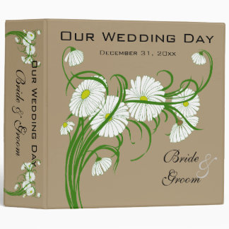 Vintage White Gerber Daisy Flowers Wedding Set 3 Ring Binder