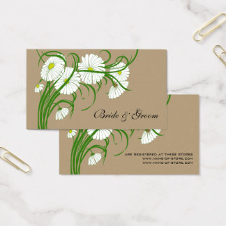 Vintage White Gerber Daisy Flowers Wedding Set Business Card