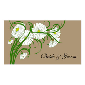 Vintage White Gerber Daisy Flowers Wedding Set Double-Sided Standard Business Cards (Pack Of 100)