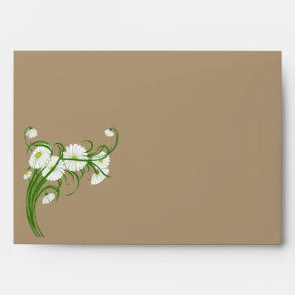 Vintage White Gerber Daisy Flowers Wedding Set Envelope