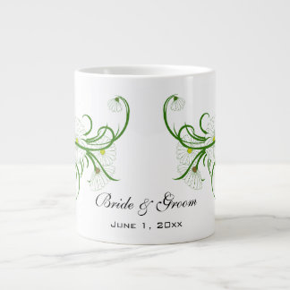 Vintage White Gerber Daisy Flowers Wedding Set Giant Coffee Mug