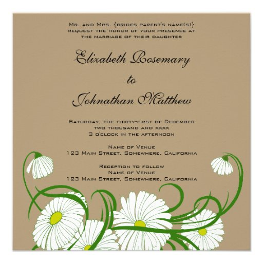Vintage White Gerber Daisy Flowers Wedding Set Announcements