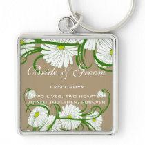 Vintage White Gerber Daisy Flowers Wedding Set Keychain