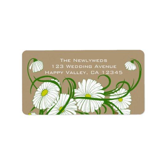 Vintage White Gerber Daisy Flowers Wedding Set Label