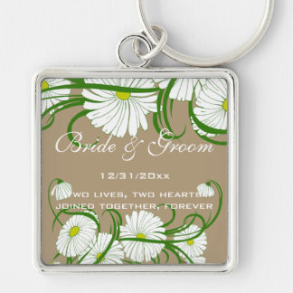 Vintage White Gerber Daisy Flowers Wedding Set Silver-Colored Square Keychain