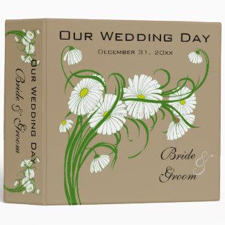 Vintage White Gerber Daisy Flowers Wedding Set Vinyl Binder