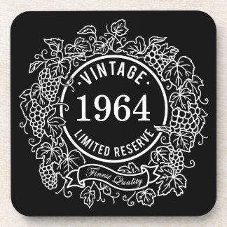 Vintage White Grapevine Wine Stamp, Add Birth Year Beverage Coaster