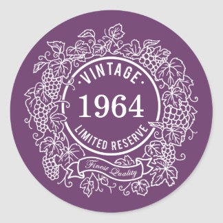 Vintage White Grapevine Wine Stamp, Add Birth Year Classic Round Sticker