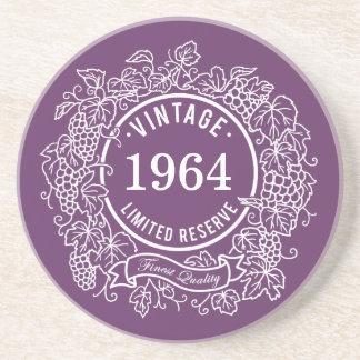 Vintage White Grapevine Wine Stamp, Add Birth Year Coaster