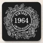 Vintage White Grapevine Wine Stamp, Add Birth Year Coasters