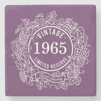 Vintage White Grapevine Wine Stamp, Add Birth Year Stone Coaster