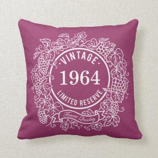 Vintage White Grapevine Wine Stamp, Add Birth Year Throw Pillow