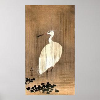 Vintage White Heron in the Rain Poster
