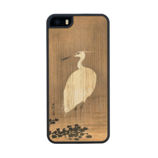 Vintage White Heron in the Rain Wood Phone Case For iPhone SE/5/5s