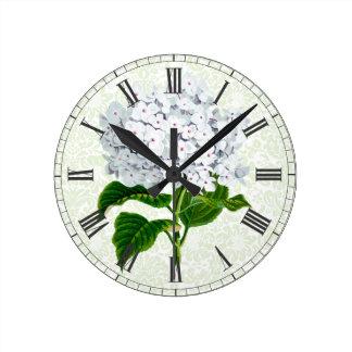 Vintage White Hydrangea Round Wall Clock