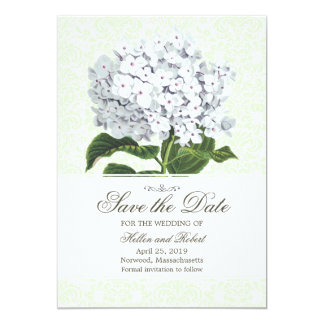 Vintage White Hydrangea Save The Date Card