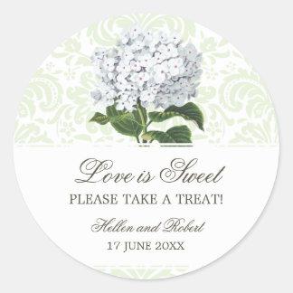 Vintage White Hydrangea Wedding Candy Buffet Classic Round Sticker