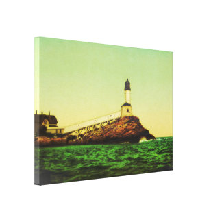 Vintage White Island Lighthouse Wrapped Canvas