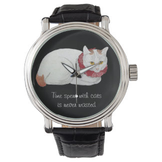 Vintage White Japanese Cat Art Quote Watch