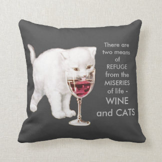Vintage White Kitten Drinking Red Wine Art Quote Throw Pillow