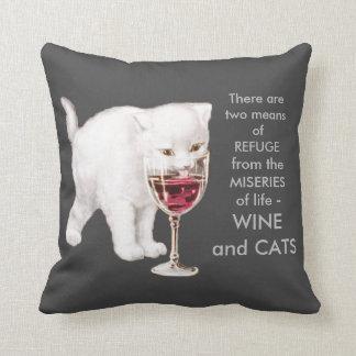 Vintage White Kitten Drinking Red Wine Art Quote Throw Pillow
