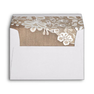 Vintage White Lace and Rustic Burlap Wedding Envelope
