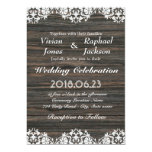 Vintage White Lace and Wood Wedding Invitation