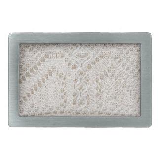 Vintage white lace rectangular belt buckles